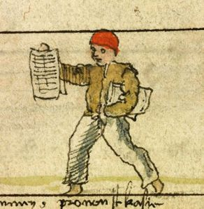 A newsboy sketched into a 16th century songbook,
